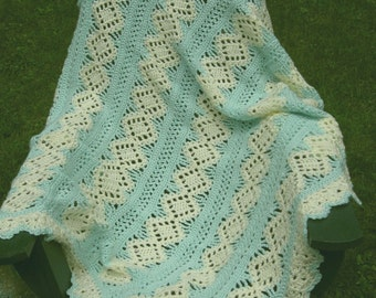 Soft Green and Ivory  Lacy Diamond Afghan