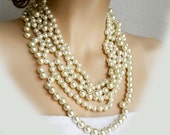 Wedding Statement Necklace, Pearl Necklace Chunky, Bridal Necklace Bib, Wedding Necklace Jewelry, Pearl Jewellery, Cream Pearls Bridal Party
