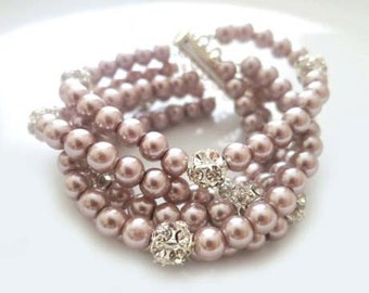 Crystal and Pearl Bracelet Bridal Pearl Bracelet Powder Almond Lilac Mauve Mother of The Bride Gift SARA Rhinestone and Pearls Cuffs Gatsby