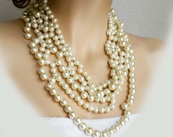 Wedding Statement Necklace Pearl Necklace Chunk, Bridal Necklace Bib Wedding Jewelry for Bridesmaids Cream Pearls Nude Light Silk Blush