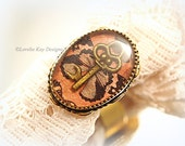 Butterfly Fly Key Ring Resin Cast Resin Ring Tiny Skeleton Key Gold Plated Ring