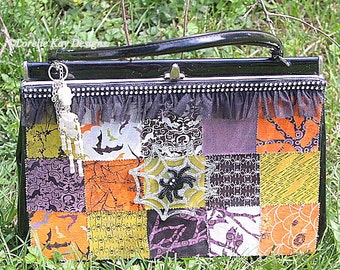 Halloween Handbag Upcycled Colorful Halloween Spider Skeleton Kelly Bag Lorelie Kay Original