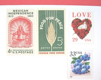 Wedding Postage Stamps, Love Peace Mexico Berries Stamps, Mail 20 Invitations 71 cents postage 2 oz, for Mexican Destination Wedding invites