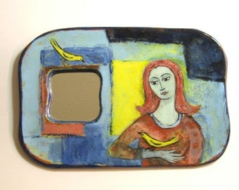 Handpainted Terra Cotta Mirror - Girl with the Yellow Birds
