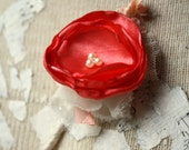 Coral boutonniere, coral mens wedding boutonniere, fabric flower boutineer, buttonhole, coral grooms flower
