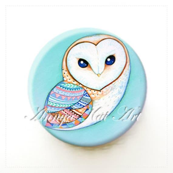 Barn Owl - Stylish Purse / Pocket Mirror - Mint Tribal Pattern Barn Owl - Bird Theme Turquoise White