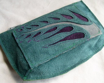 Wallet Pouch in teal suede