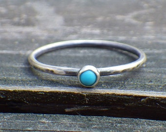 Sleeping beauty turquoise sterling silver ring ... Tiny turquoise  ring dainty turquoise ring stacking ring