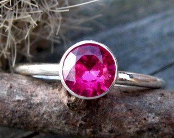 Pink ruby sterling silver ring