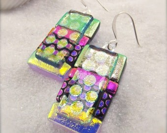 Dichroic earrings, statement jewelry, dichroic handmade, women's jewelry, glass gifts, handcrafted, boho, stylish jewelry, dichroic, fusion