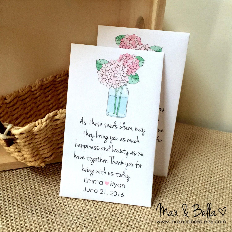 diy custom seed packet wedding favors hydrangea let love grow