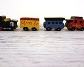 Miniature hand painted wooden train set of 4 display collectible toy vintage Santa Fe boys room decor