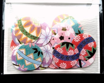Japanese Stickers - Chiyogami Paper Stickers - Temari Balls - Traditional Japanese - Japanese Sticker  Flakes  (S257)