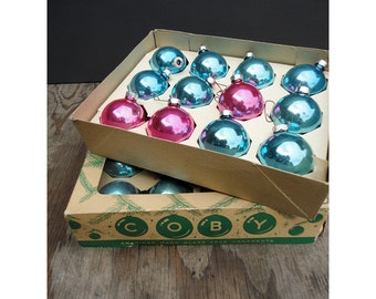 Reserved - Pink and Blue Vintage Mercury Glass Ornaments - Tree Ornaments - Balls