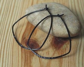 Handmade hammered black tone hoop 38x35mm, one pair (item ID BK29G18)