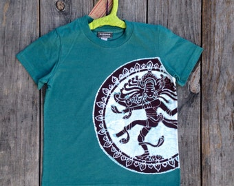 Shiva Batik t-shirt hand drawn hand painted & hand dyed eco friendly teal green - Kids clothes - size 2, 4, 6, 8, 10, 12