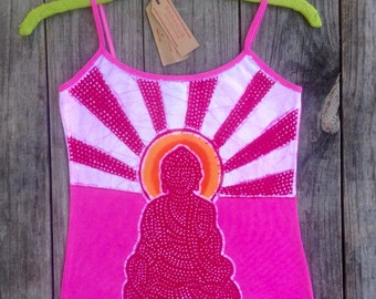 Buddha meditation spaghetti strap tops & tees hand dyed hot pink batik clothing Eco friendly yoga clothing yoga top hand drawn hand painted