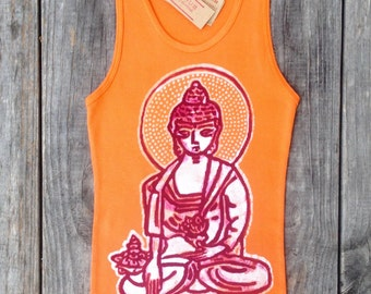 Yoga meditating buddha batik ribbed tank tops and tees hand drawn hand painted & hand dyed women terracotta -yoga clothes-
