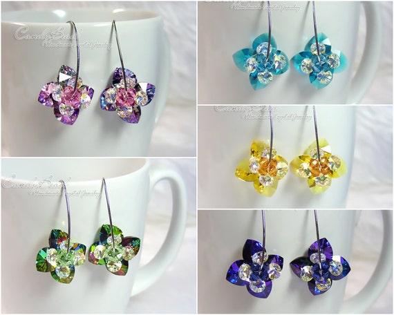 Swarovski Earrings, Flower Heart Swarovski Crystal Earrings on Long Silver Ear Hooks (E015-02)