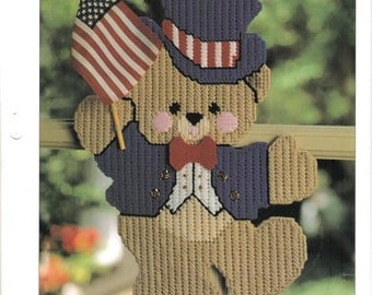 Flag-Waving Bear ~  plastic canvas pattern  ~  Leisure Arts