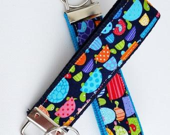 Keychain Wristlet Key fob - Bright Turtles - Whimsical multi-colored turtles