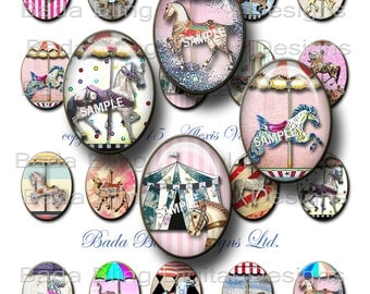 30mm x 40mm ...Life Is A Carousel,OOAK  carousel horses,circus,horses  INSTANT Download