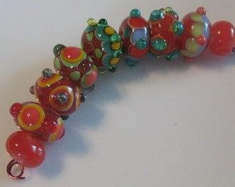 Handmade glass beads-lampwork beads-loose beads-set of nine glass beads-SRA