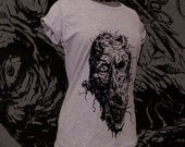 Womans Grey ZOMBIE fitted cotton tshirt short sleeve scoop neck death horror goth eat your face and thank you later Size M L XL and XXL