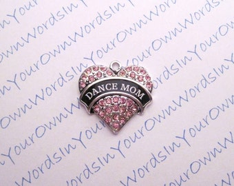 Custom Dance Mom Charm Crystal Dancer Antique Silver Heart Pendant Personalized