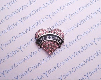 Custom Little Sister Charm Crystal Antique Silver Heart Sister Pendant