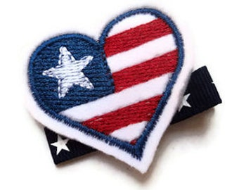 SUMMER IDEAS - Felt Hair Clip - Patriotic flag HEART Red White Blue Hair Bow stars Clippie - cute hair bows for girls - July 4th Vacation