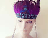 Feather Head Dress Sequin Tassels Purple Feathers Turquoise Trimming