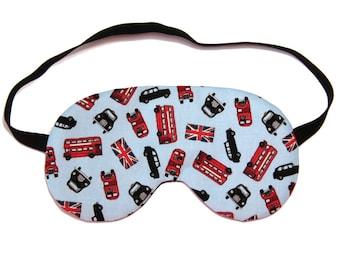 London Bus and Car on Blue Sleep Eye Mask / Sleeping Mask