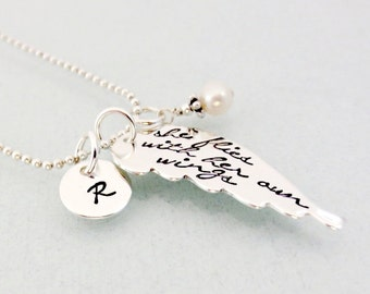 She Flies With Her Own Wings Necklace - Personalized Initial Necklace - Sterling Silver Wing Necklace - Inspirational Jewelry - Hand Stamped