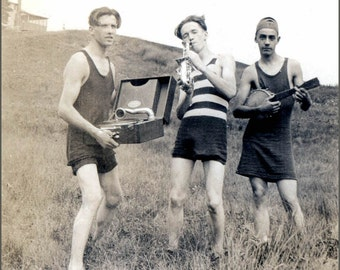 vintage photo print Young Men Make Music Saxophone Banjo Record Player Greeting Card