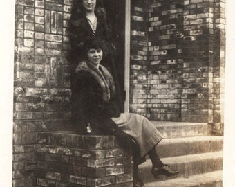 vintage photo 1920s Young Women Sit Stand by Brick Wall
