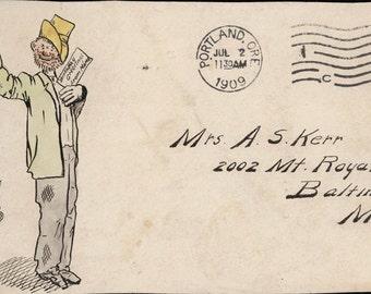 vintage photo 1909 Hand Drawn Illustrated Cover envelope Portland Oregon Kerr Comic Cartoon