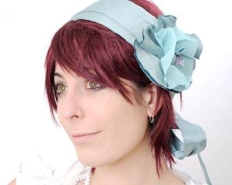 Blue floral headband, Blue headpiece, blue headwrap, Something blue, Light blue floral headpiece, Wedding headband