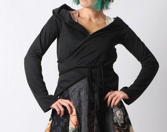 Black Wrap Cardigan - Black jersey Shrug - Black Chameleon Wrap Shrug in jersey - Long sleeved jersey wrap - Transformable, MALAM