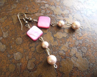 Simply Precious Mother of Pearl and Pearl Antique Brass Beaded Dangle earrings