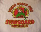 T Shirt Chiles Starboard Brand Dewey Beach DE LARGE white SS vintage - Boho Hipster Beach street Urban Coachella Burning Man arty Indie Chic