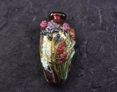 Leah Fairbanks Lampworked Glass Bead Multi Floral