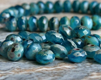 Ocean Mist Czech Glass Picasso Beads 5x3mm Faceted Rondelle : 30 pc Full Strand Teal Czech Bead