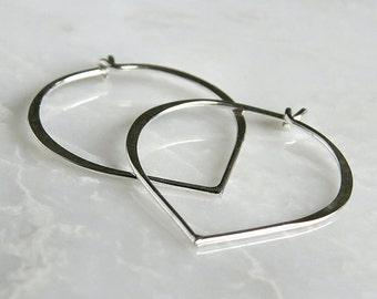 Bali Sterling Silver Lotus Hoop Earwire 30x25mm : 1 Pair Silver Petal Flower Ear Wires