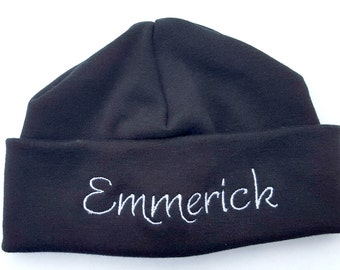 Black Personalized Embroidered Monogrammed Baby Beanie