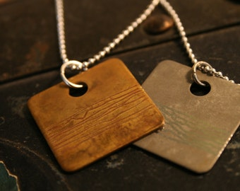 brass or stainless steel stripes pendant