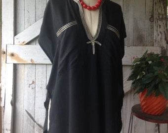Nautical tunic Vintage sailor top size large