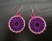 Pink and Purple Dreamcatcher Chainmaille Earrings Reserved for jlvking