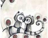 owls in love ( Print ) whimsical, wall decor, tree, black and white