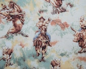Reserves FOR PATTI - Retro cowboy fabric cotton bucking rodeo bronco horses